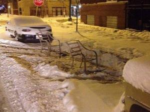 chairs shoveled parking place