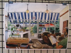 Toronto cafe interior - watercolor by Wilfrid